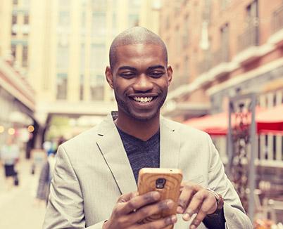 Man reading his cellphone